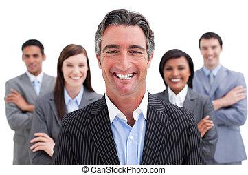 équipe, business, projection, sourire, diversité