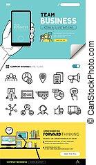 équipe, concepts, icones affaires
