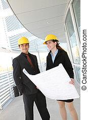 équipe, construction, bureau, business, site