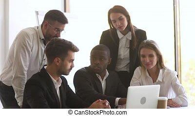 équipe, créatif, exprès, éditorial, brain-storming, idée, noir, collègues