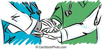 équipe, médecins, vecteur, concept, illustration, travail