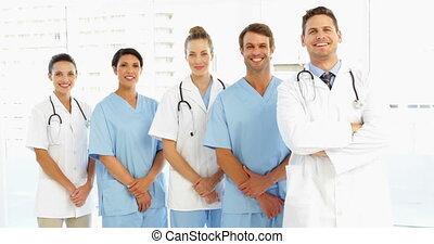 équipe, mains, heureux, ensemble, monde médical