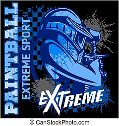 équipe, paintball, sport, -, extrême