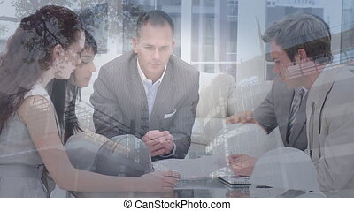 équipe, pendant, réunion, composite, affaires numériques