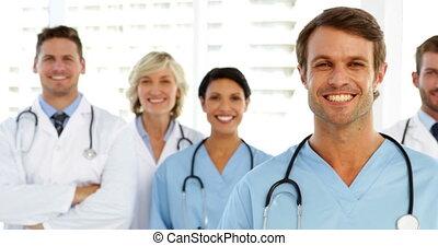 équipe, sourire, monde médical