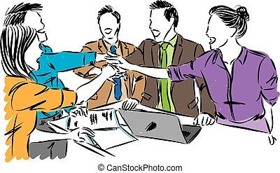 équipe travail, concept, illustration, vecteur, ouvriers