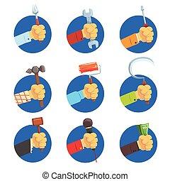 équipe, travaux, ensemble, symbole, main, vecteur, profession, tenant mains, illustrations, outils, avatar