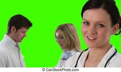 équipe, vert, écran, métrage, 5, monde médical