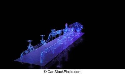 équipement, électrique, valve., 3d, industriel, rendre numérique, technologie