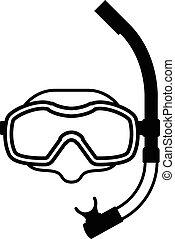 équipement, blanc, noir, snorkeling, icône