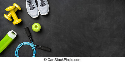 équipement, copie, fond, fitness, sombre, espace