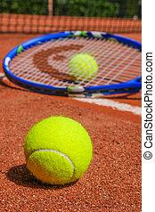 équipement, court tennis, argile