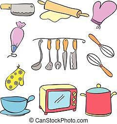 équipement cuisine, ensemble, coloré, doodles
