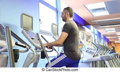 équipement, elliptique, homme, fitness