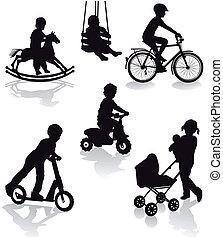 équipement, enfants, cour de récréation