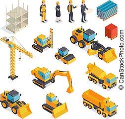 équipement, ensemble, isométrique, bâtiment