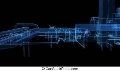 équipement, hollogram., 3d, industriel, rayon x, rendre numérique, visualisation, technologie