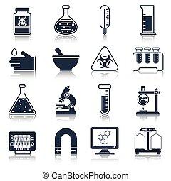 équipement, laboratoire, noir, icônes
