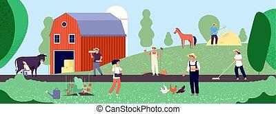 équipement, life., travail, organique, agriculture, illustration, vecteur, nature, paysan, ouvriers, agriculture, agricole, plat