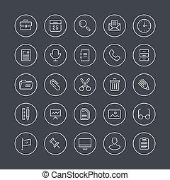 équipement, ligne, plat, icônes bureau