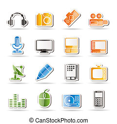 équipement, média, icônes