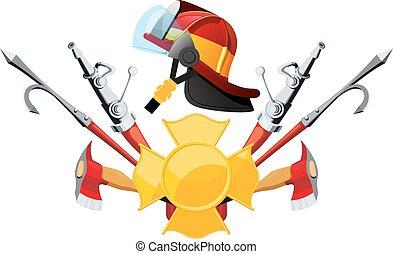 équipement, outils, pompier