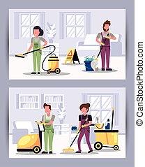 équipement, ouvriers, housekepping, équipe