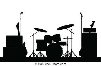 équipement, rocher, silhouette, bande