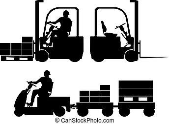 équipement, silhouettes, logistique