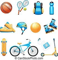 équipement, sport, icônes, ensemble, plat, été