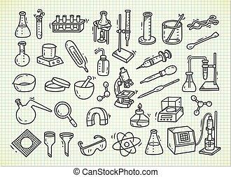 équipement, style, ensemble, griffonnage, laboratoire