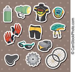 équipement, vélo, autocollants, dessin animé