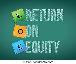 équité, écrit, financier, retour