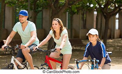 équitation, américain, bicycles, parc, togetherness famille