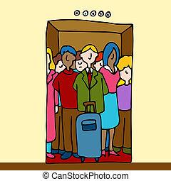 équitation, ascenseur, gens