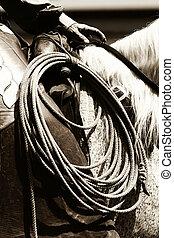 équitation, authentique, (sepia), cow-boy