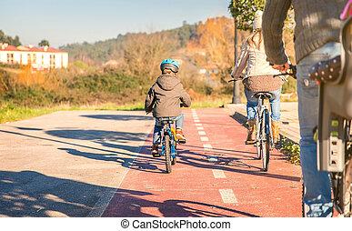 équitation, bicycles, enfants, famille, nature