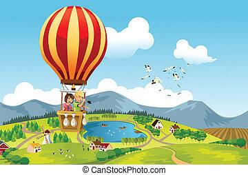équitation, chaud, gosses, balloon, air