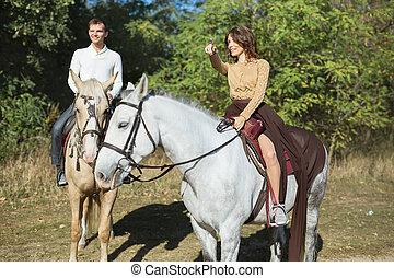 équitation, cheval, amour, couple, jeune