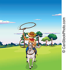 équitation, cheval, forêt, cow-boy