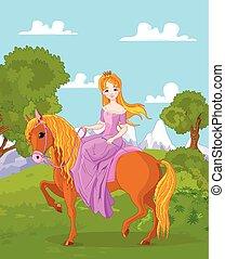 équitation, cheval, princesse
