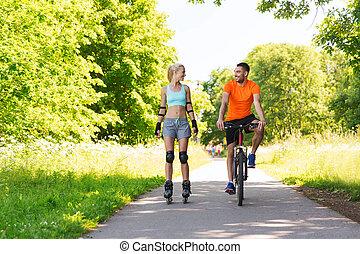 équitation, couple, vélo, rollerblades, heureux
