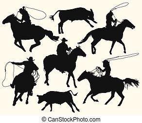 équitation, cowboys, rodeo lasso, cheval