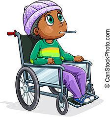 équitation, fauteuil roulant, noir