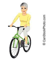 équitation, femme aînée, vélo, heureux