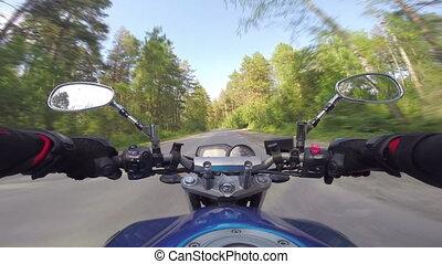 équitation, forêt, route, motocyclette