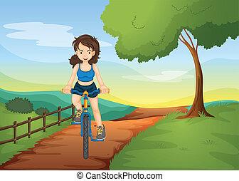 équitation, girl, vélo