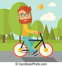 équitation, homme, bicycle.