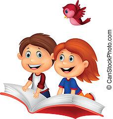 équitation, livre, heureux, enfants, dessin animé