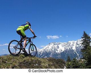 équitation, montagne, montagnes, par, motard